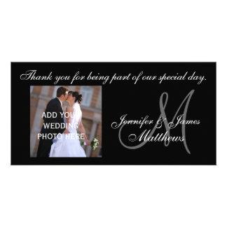BrölloptackMonogram och meddelande Fotokort