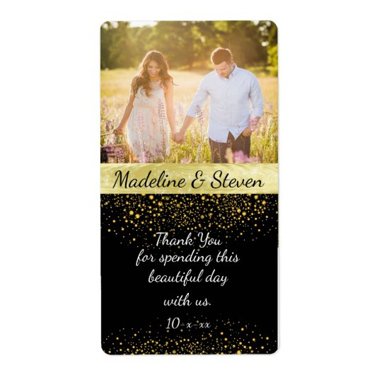 Bröllopvin, guld- konfetti, beställnings- foto fraktsedel