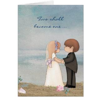 bröllopvows på strand hälsningskort
