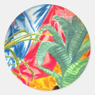Bromeliads färgrikt stilleben rund klistermärke