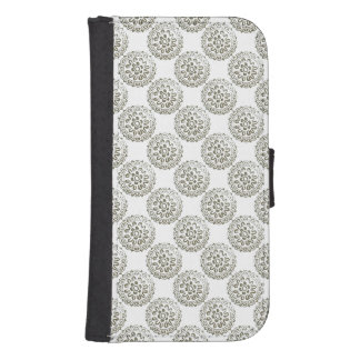 Brons design 1 för motivMandalasrundan + tillfoga Galaxy S4 Plånbok