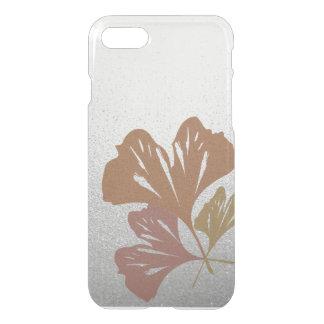 Brons ginkgoen som löv på silver verkställer iPhone 7 skal