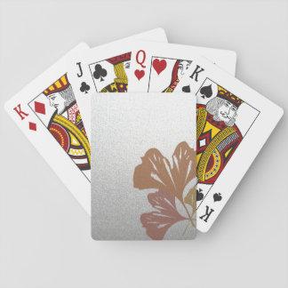 Brons ginkgoen som löv på silver verkställer spelkort