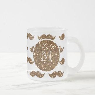 Brons glittermustaschmönster din Monogram Frostad Glas Mugg