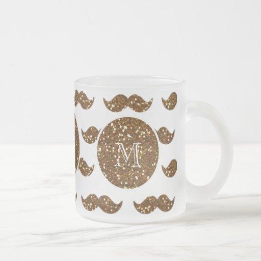 Brons glittermustaschmönster din Monogram Kaffe Kopp