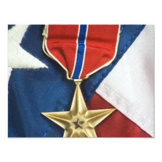 Brons stjärnan på amerikanska flaggan 10,8 x 14 cm inbjudningskort