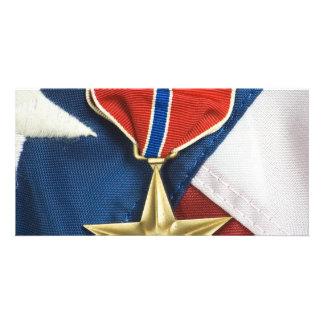 Brons stjärnan på amerikanska flaggan skräddarsydda fotokort
