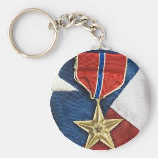 Brons stjärnan på amerikanska flaggan nyckel ringar