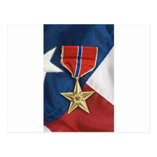 Brons stjärnan på amerikanska flaggan vykort