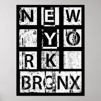 Bronx New York | Grungetypografi Poster