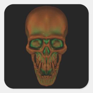 Bronzfärgad skalle fyrkantigt klistermärke