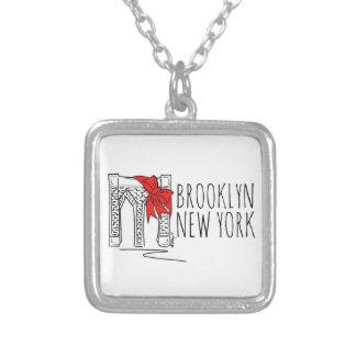 Brooklyn överbryggar det New York NYC Silverpläterat Halsband