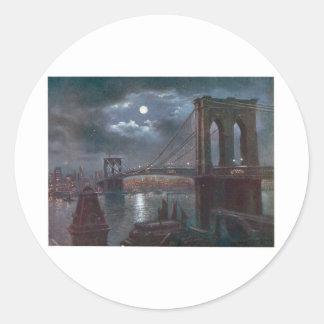 Brooklyn överbryggar vid månsken runt klistermärke