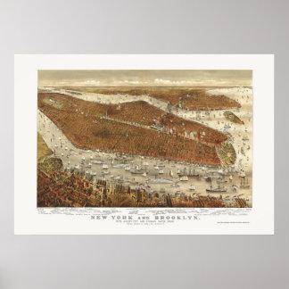 Brooklyn panorama- karta för NY - 1877 Poster