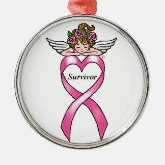 """Bröstcancer""""överlevande"""" ängel julgransprydnad metall"""