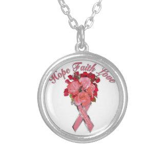 Bröstcancermedvetenhet Halsband Med Rund Hängsmycke