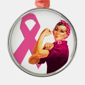 Bröstcancermedvetenhet Rosie riveteren Julgransprydnad Metall