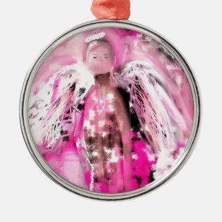 Bröstcancermedvetenhetängel #2 julgransprydnad metall