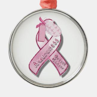 Bröstcancermedvetenhetband Julgransprydnad Metall