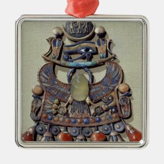 Bröstfena med fågel-scaraben julgransprydnad metall