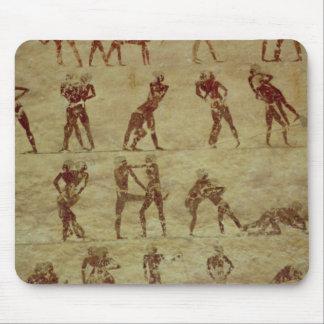 Brottare specificerar från en gravväggmålning musmatta