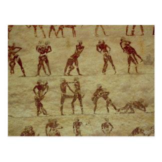Brottare specificerar från en gravväggmålning vykort