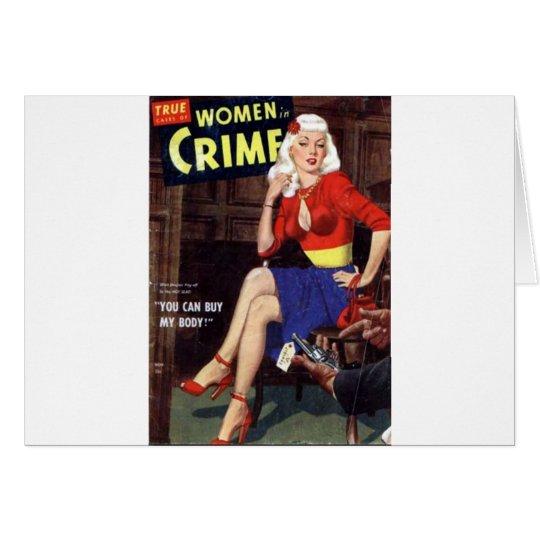 Brottslig blondin hälsningskort