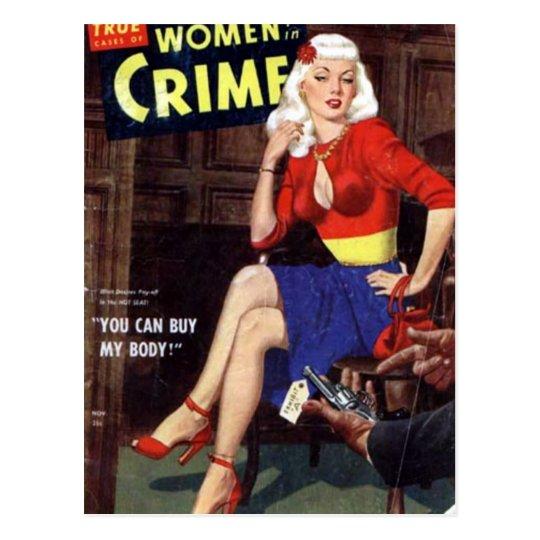 Brottslig blondin vykort