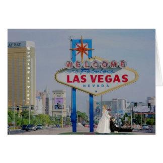 Brud/brudgumbröllop i Vegas kortCloseup Hälsningskort