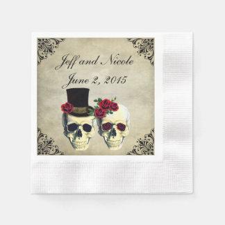 Brud- & brudgumskallebröllop papper servetter