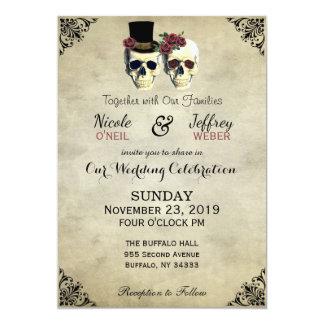 Brud- & brudgumskalleGoth lantligt bröllop 12,7 X 17,8 Cm Inbjudningskort