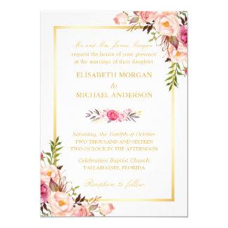 (Brud föräldrar) elegantt blom- chic guld- bröllop 12,7 X 17,8 Cm Inbjudningskort