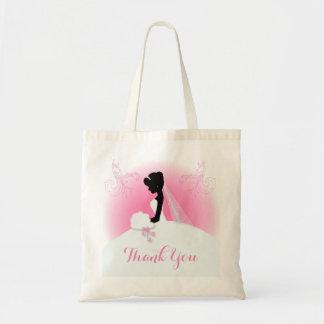 Brud- Fru höger rosa brudsilhouette Tygkasse