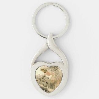 Brud Keychain för vintage bröllopklänningVictorian Twisted Heart Silverfärgad Nyckelring