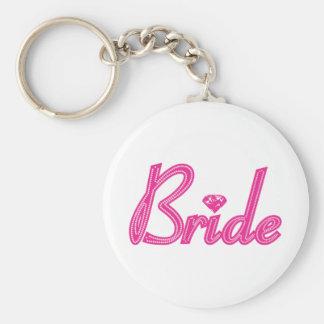 Brud med Bling - rosa Rund Nyckelring