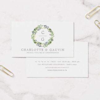 Brud- mode för elegantt blom- kranbröllop visitkort