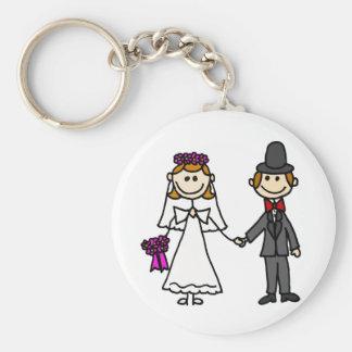 Brud- och brudgumbrölloptecknad rund nyckelring