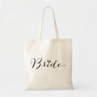 Bruden skrivar diamantbrudens sida, bröllop budget tygkasse