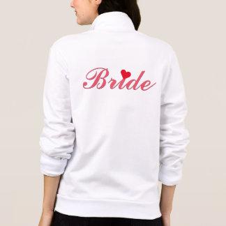 Bruden skrivar gifta sig röd hjärta för det tryck på jacka