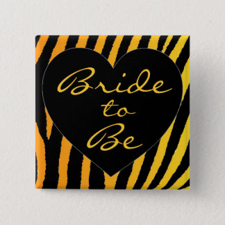 Bruden som är den orange gula sebrabacheloretten, standard kanpp fyrkantig 5.1 cm