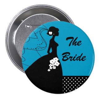 Brudens sida för blåttSilhouettebruden knäppas Knappar Med Nål