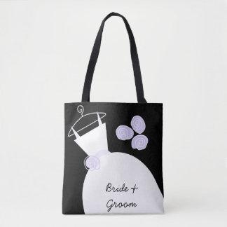 Brudgum för brud för bröllopkappa purpurfärgad all tygkasse