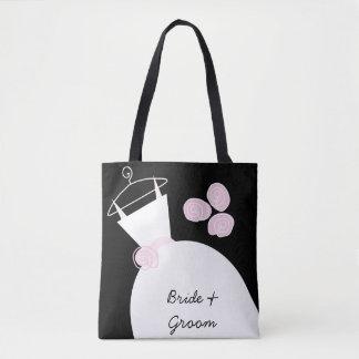 Brudgum för brud för bröllopkappa rosa all över tygkasse