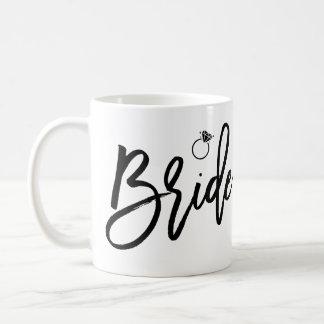 Brudmuggvit och svart med ringen kaffemugg