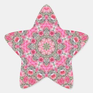 Brudslöja och rosa rosRhodochrosite Stjärnformat Klistermärke