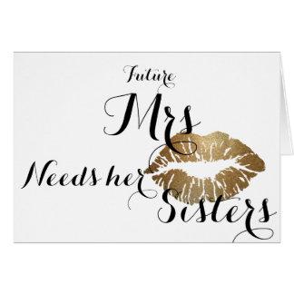 Brudtärnan frågar kortet - guld- kyss hälsningskort