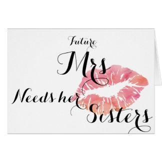 Brudtärnan frågar kortet - rosa kyssslutsummamall hälsningskort
