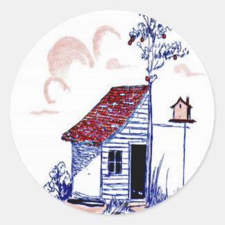 Bruka platsen med skjulet, träd och birdhousen runt klistermärke