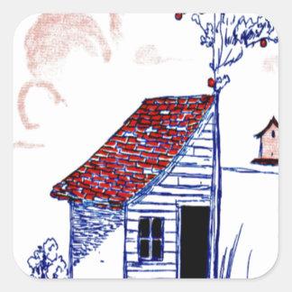 Bruka platsen med skjulet, träd och birdhousen fyrkantigt klistermärke