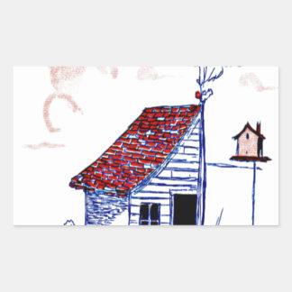 Bruka platsen med skjulet, träd och birdhousen rektangulärt klistermärke